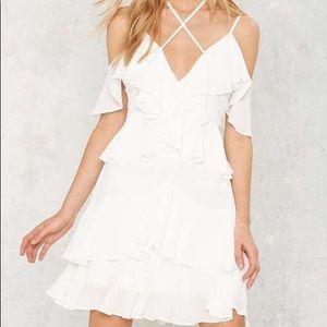 Nasty Gal White Ruffle Mini Dress